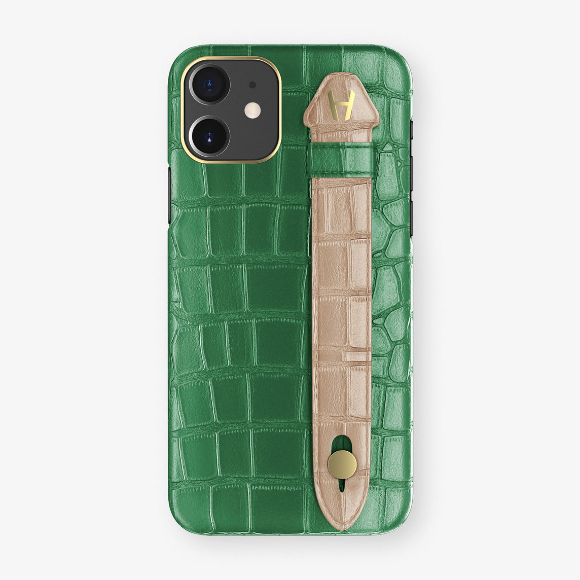 Alligator Side Finger Case Phone 11  | Green Emerald/Latte - Yellow Gold