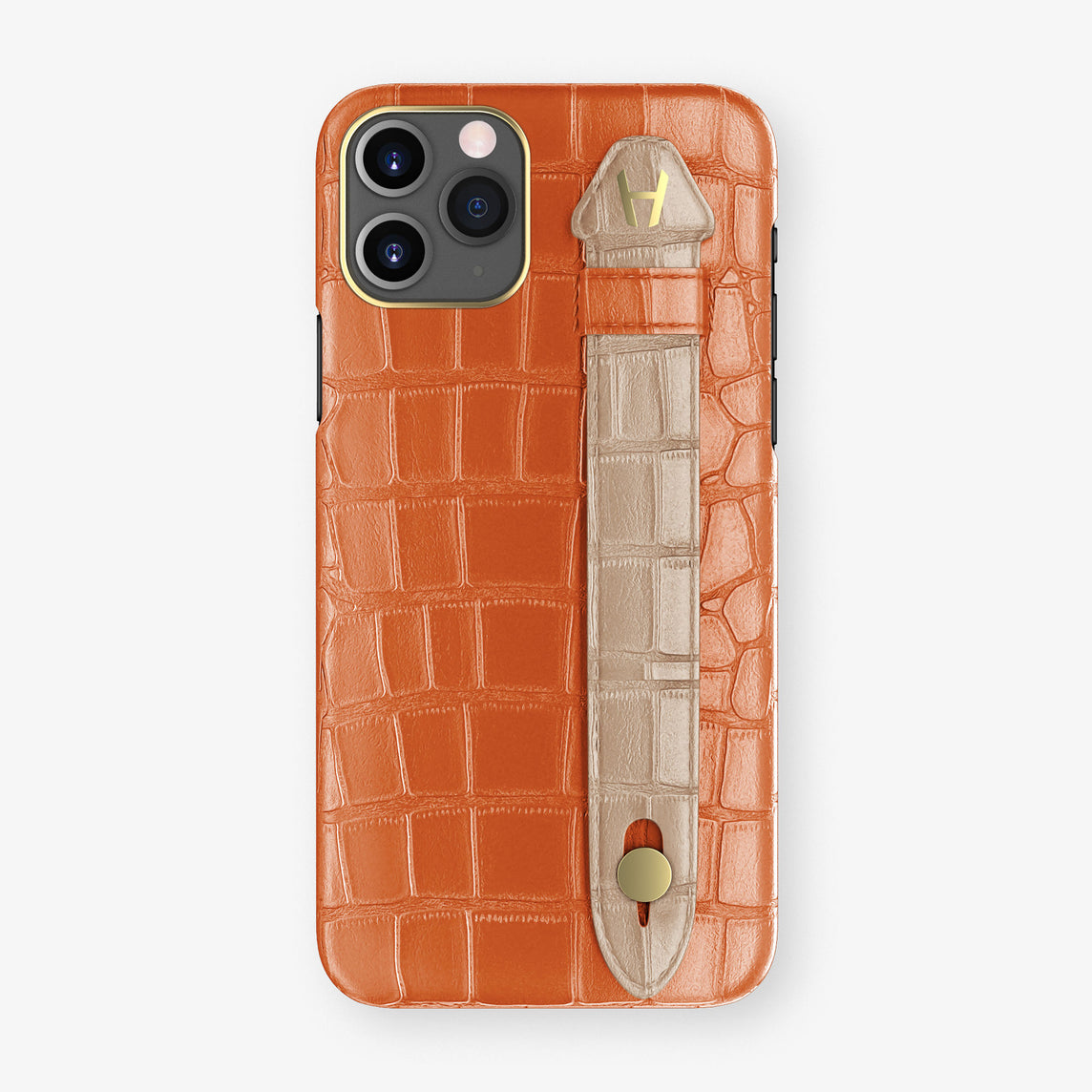 Alligator Side Finger Case Phone 11 Pro  | Orange-Sunset/Latte - Yellow Gold