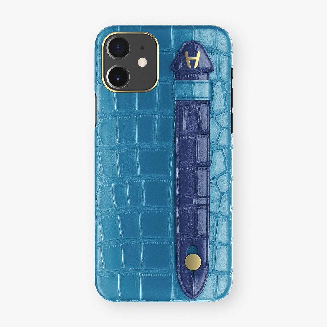 Alligator Side Finger Case Phone 11  | Blue-Lagoon/Navy-Blue - Yellow Gold