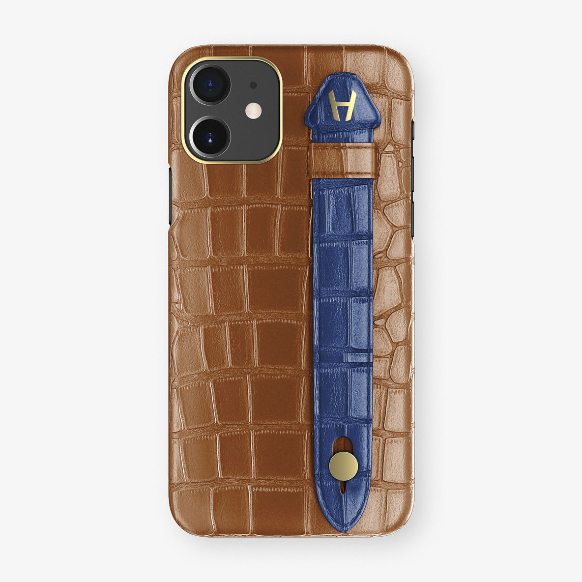 Alligator Side Finger Case Phone 11  | Cognac/Navy-Blue - Yellow Gold