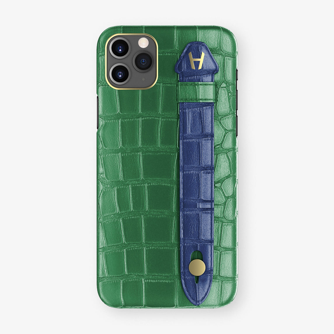 Alligator Side Finger Case Phone 11 Pro Max  | Green Emerald/Navy Blue - Yellow Gold