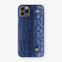 Alligator Side Finger Case Phone 11 Pro Max  | Navy-Blue/Navy-Blue - Yellow Gold