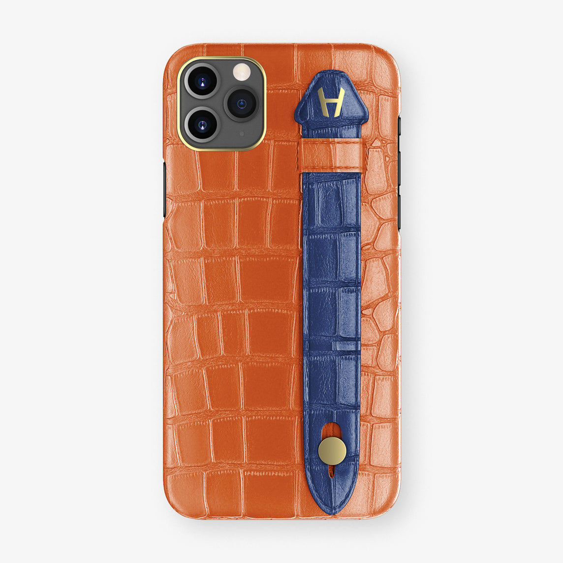 Alligator Side Finger Case Phone 11 Pro Max  | Orange-Sunset/Navy-Blue - Yellow Gold
