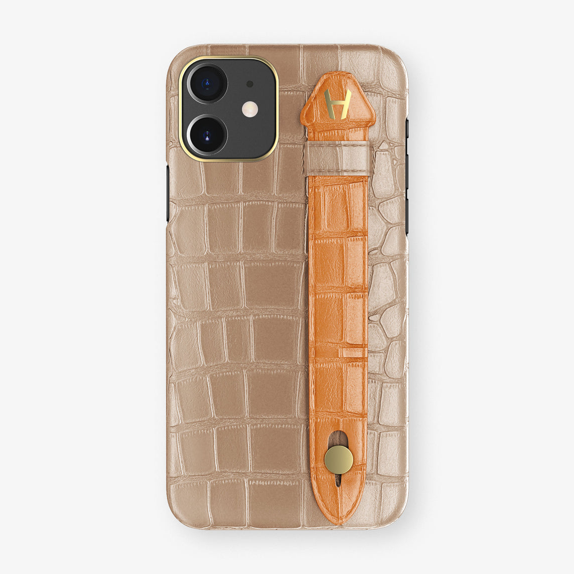 Alligator Side Finger Case Phone 11  | Latte/Orange - Yellow Gold