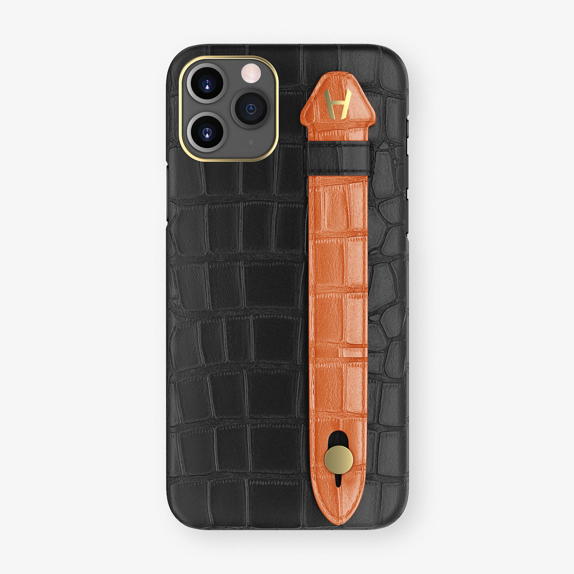 Alligator Side Finger Case Phone 11 Pro  | Black/Orange-Sunset - Yellow Gold