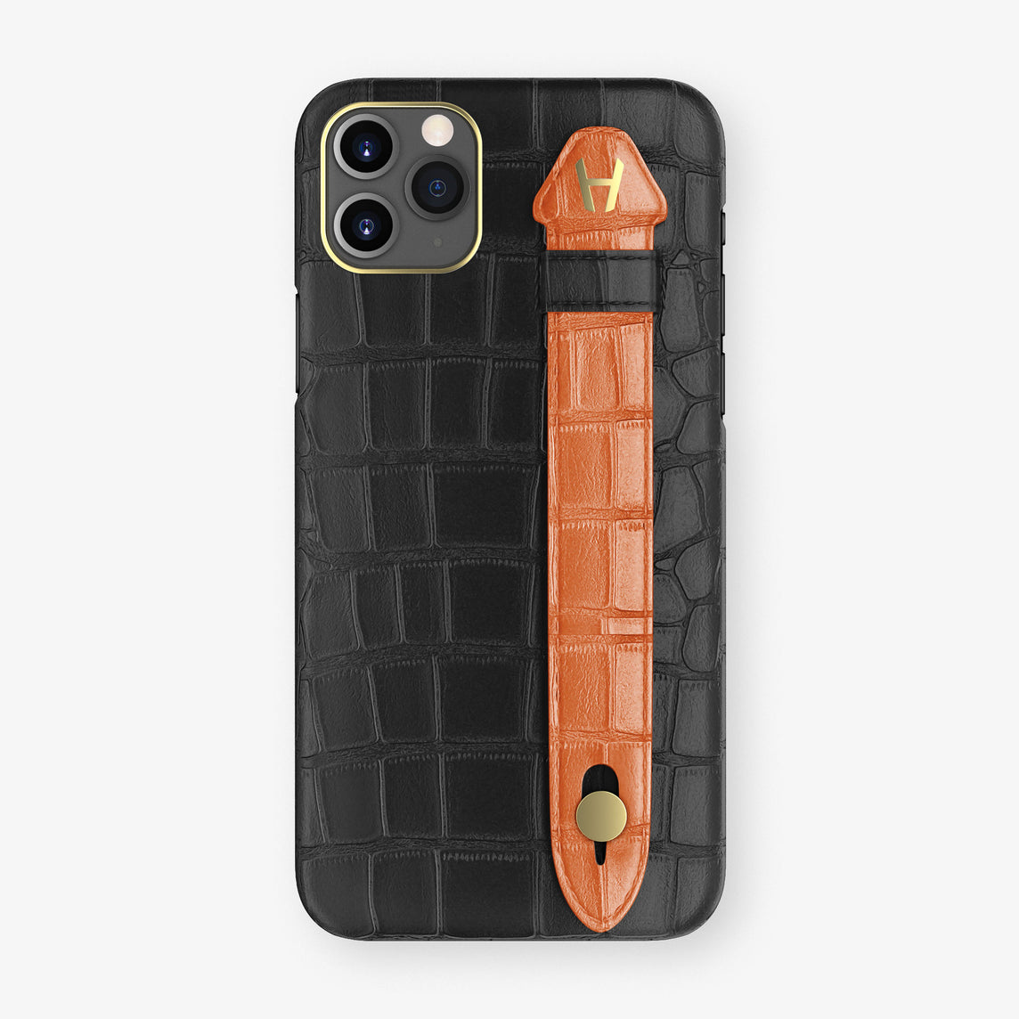 Alligator Side Finger Case Phone 11 Pro Max  | Black/Orange-Sunset - Yellow Gold