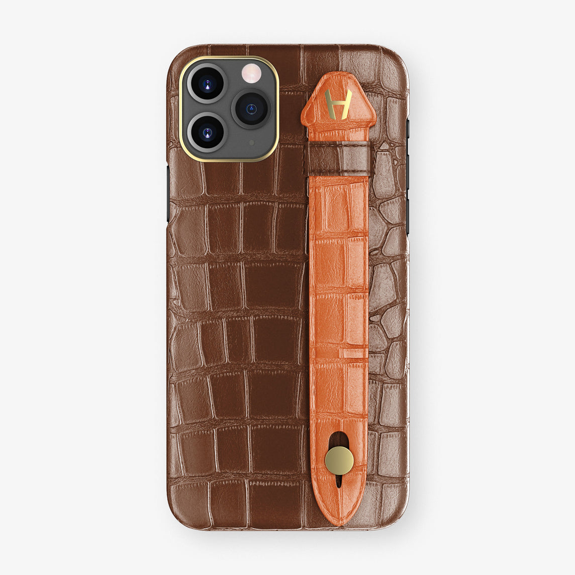 Alligator Side Finger Case Phone 11 Pro  | Brown/Orange-Sunset - Yellow Gold