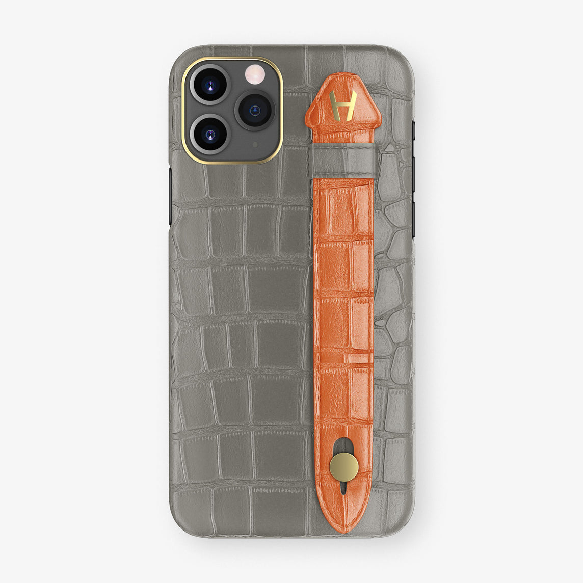 Alligator Side Finger Case Phone 11 Pro  | Grey/Orange-Sunset - Yellow Gold