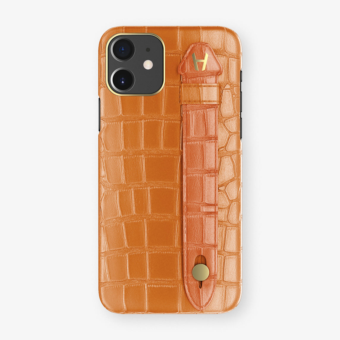 Alligator Side Finger Case Phone 11  | Orange/Orange-Sunset - Yellow Gold