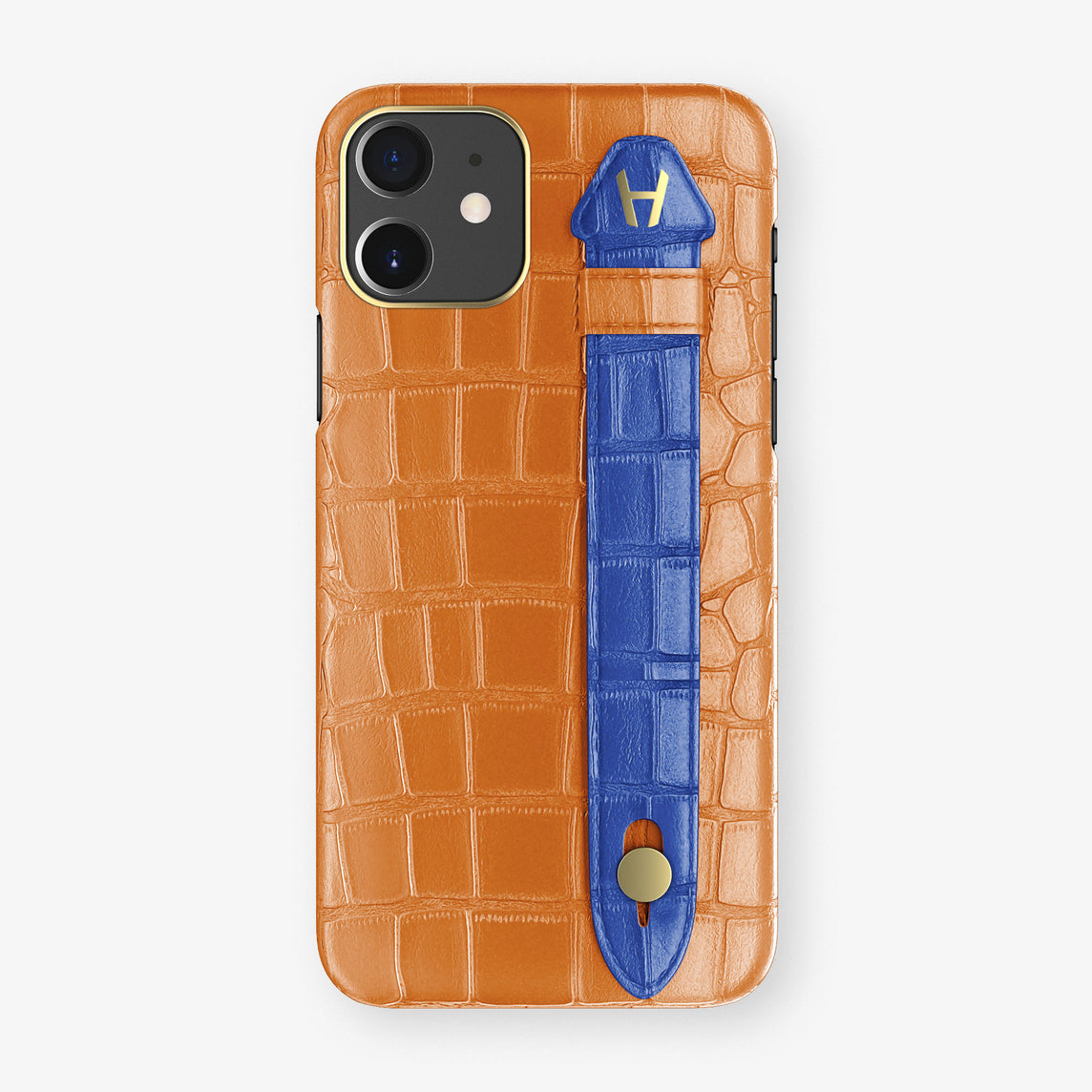 Alligator Side Finger Case Phone 11  | Orange/Peony-Blue - Yellow Gold