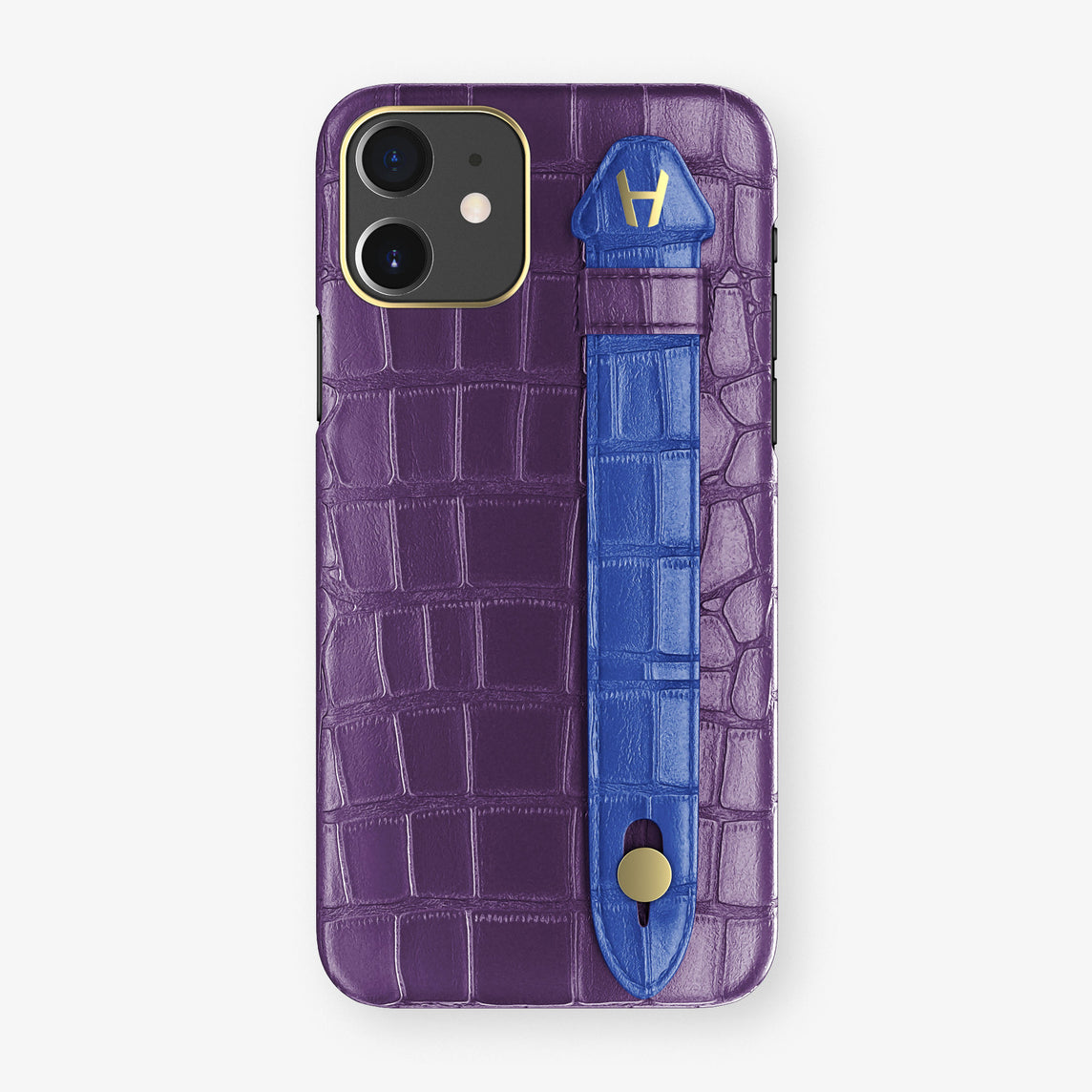 Alligator Side Finger Case Phone 11  | Purple/Peony-Blue - Yellow Gold