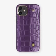 Alligator Side Finger Case Phone 11  | Purple/Purple - Yellow Gold