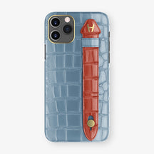 Alligator Side Finger Case Phone 11 Pro  | Blue-Ciel/Red - Yellow Gold