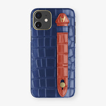Alligator Side Finger Case Phone 11  | Navy-Blue/Red - Yellow Gold