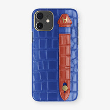 Alligator Side Finger Case Phone 11  | Peony-Blue/Red - Yellow Gold