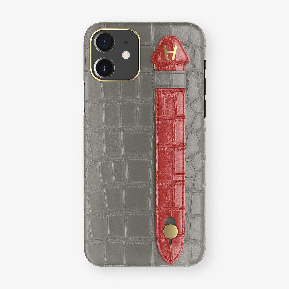 Alligator Side Finger Case Phone 11  | Grey/Red-Ruby-Nacre - Yellow Gold