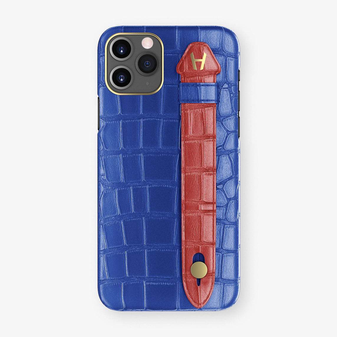 Alligator Side Finger Case Phone 11 Pro  | Peony-Blue/Red-Ruby-Nacre - Yellow Gold