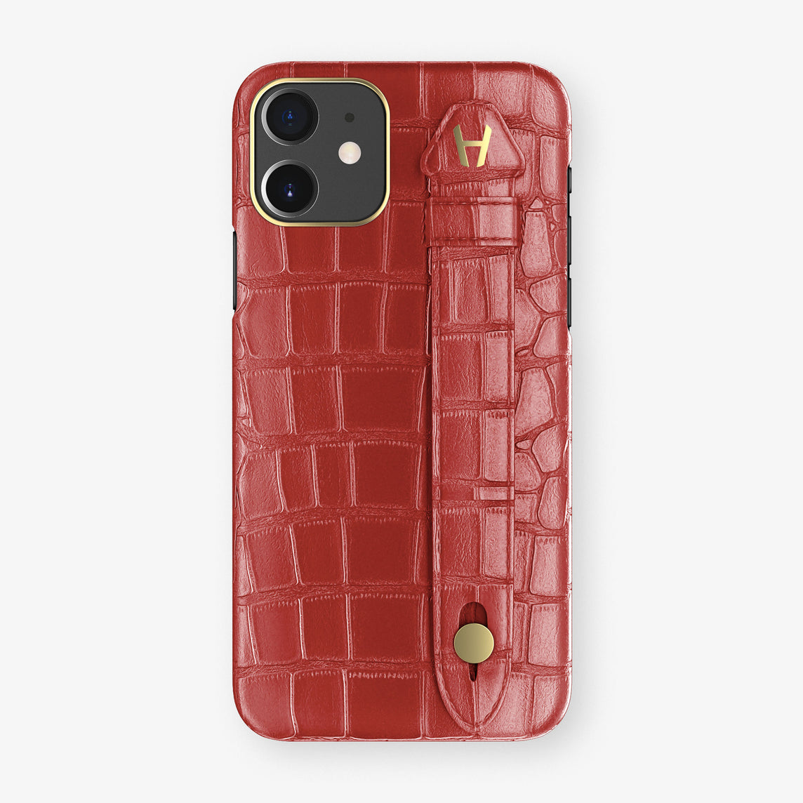 Alligator Side Finger Case Phone 11  | Red-Ruby-Nacre/Red-Ruby-Nacre - Yellow Gold