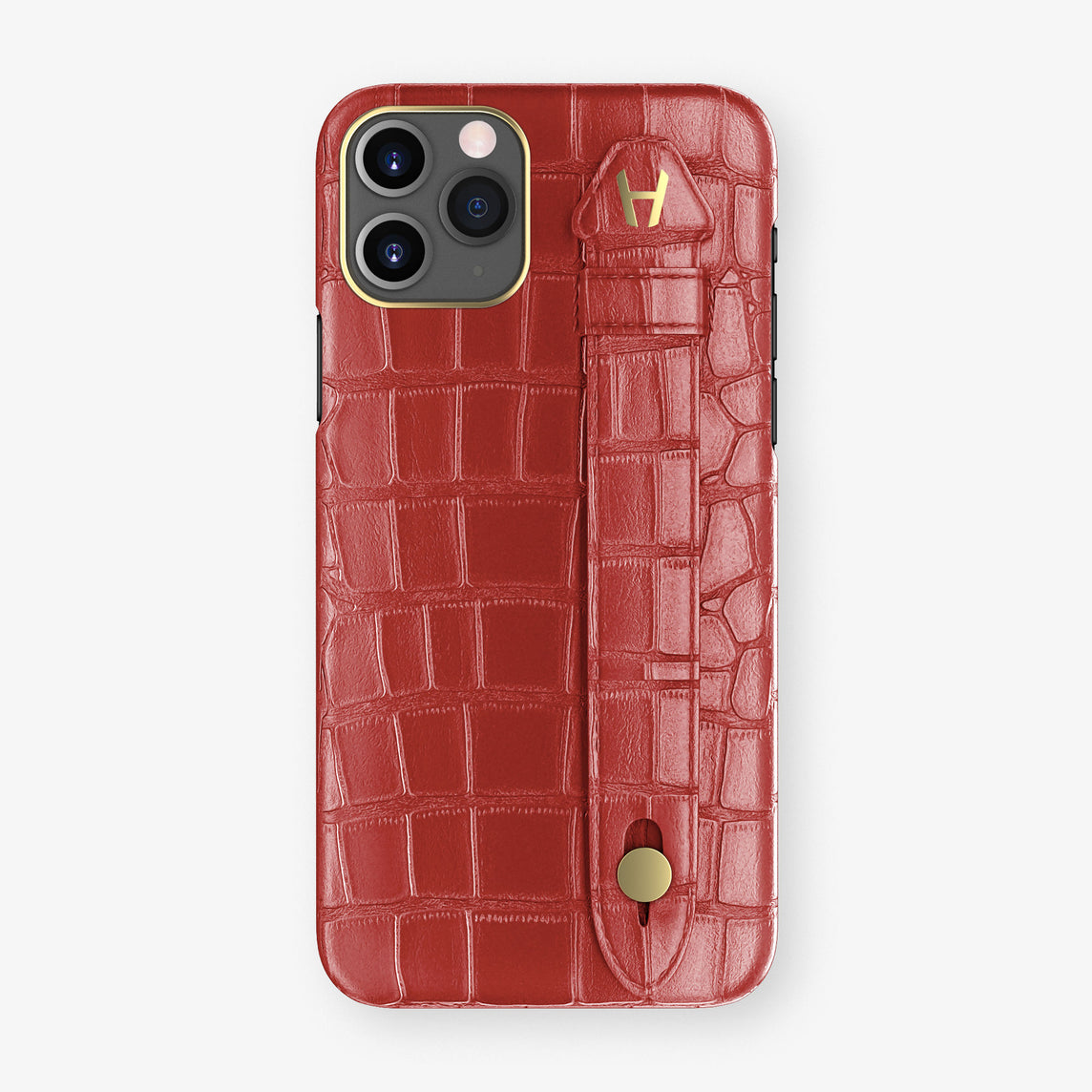 Alligator Side Finger Case Phone 11 Pro  | Red-Ruby-Nacre/Red-Ruby-Nacre - Yellow Gold