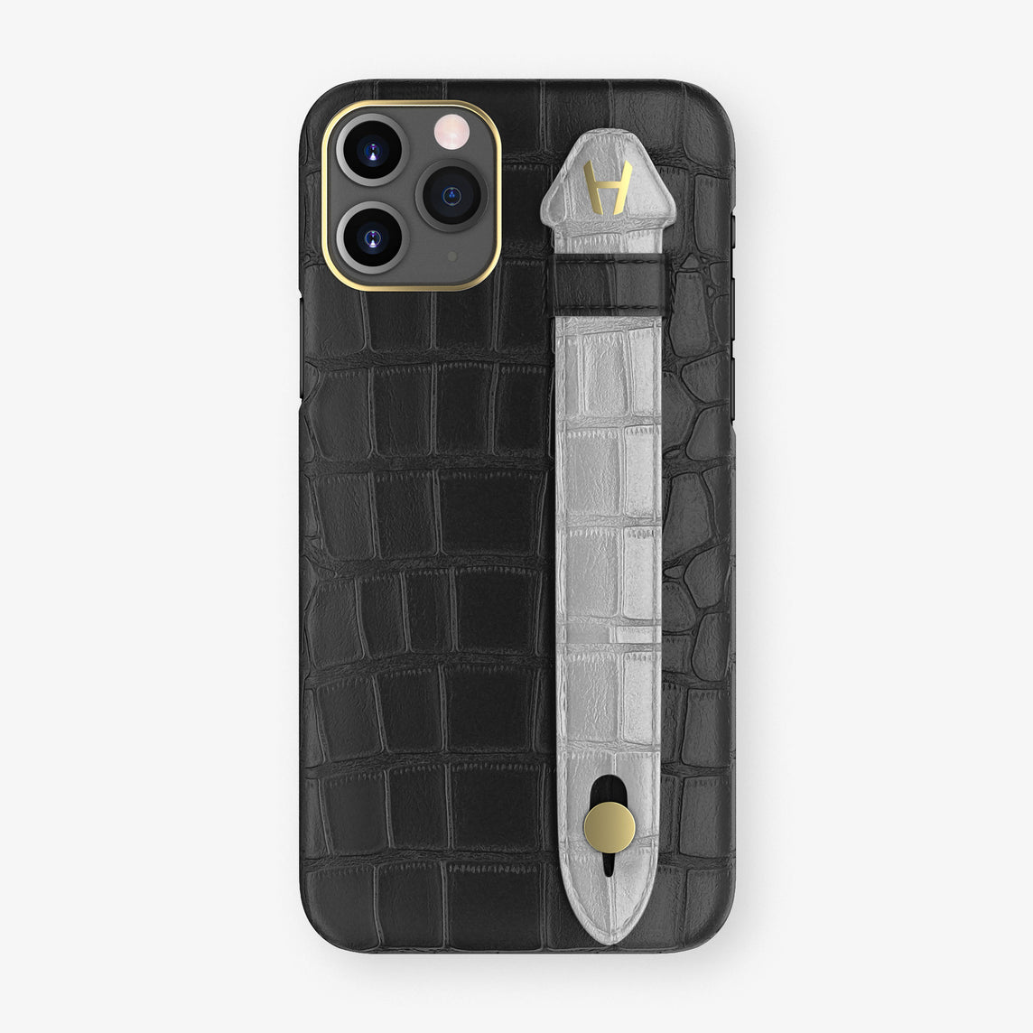 Alligator Side Finger Case Phone 11 Pro  | Black/Silver - Yellow Gold