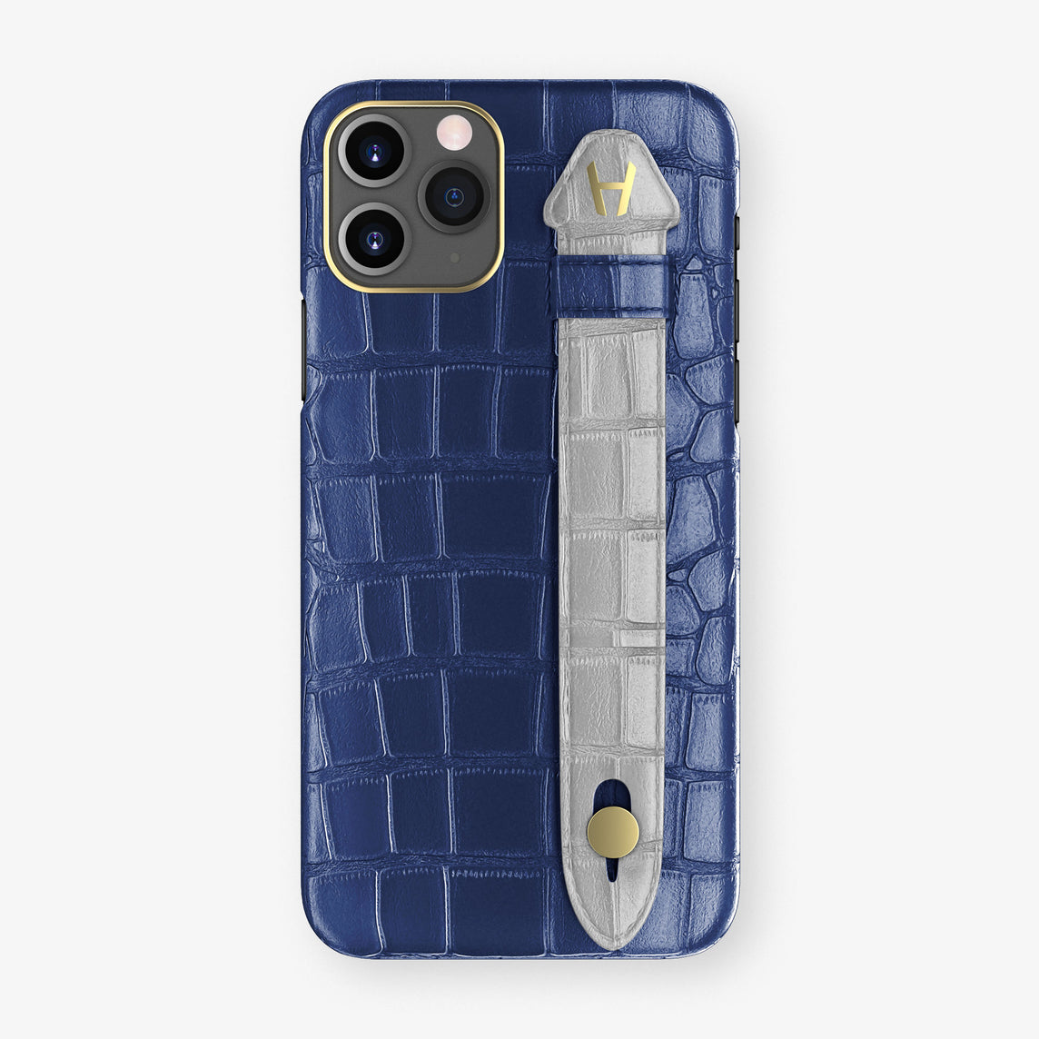 Alligator Side Finger Case Phone 11 Pro  | Navy-Blue/Silver - Yellow Gold
