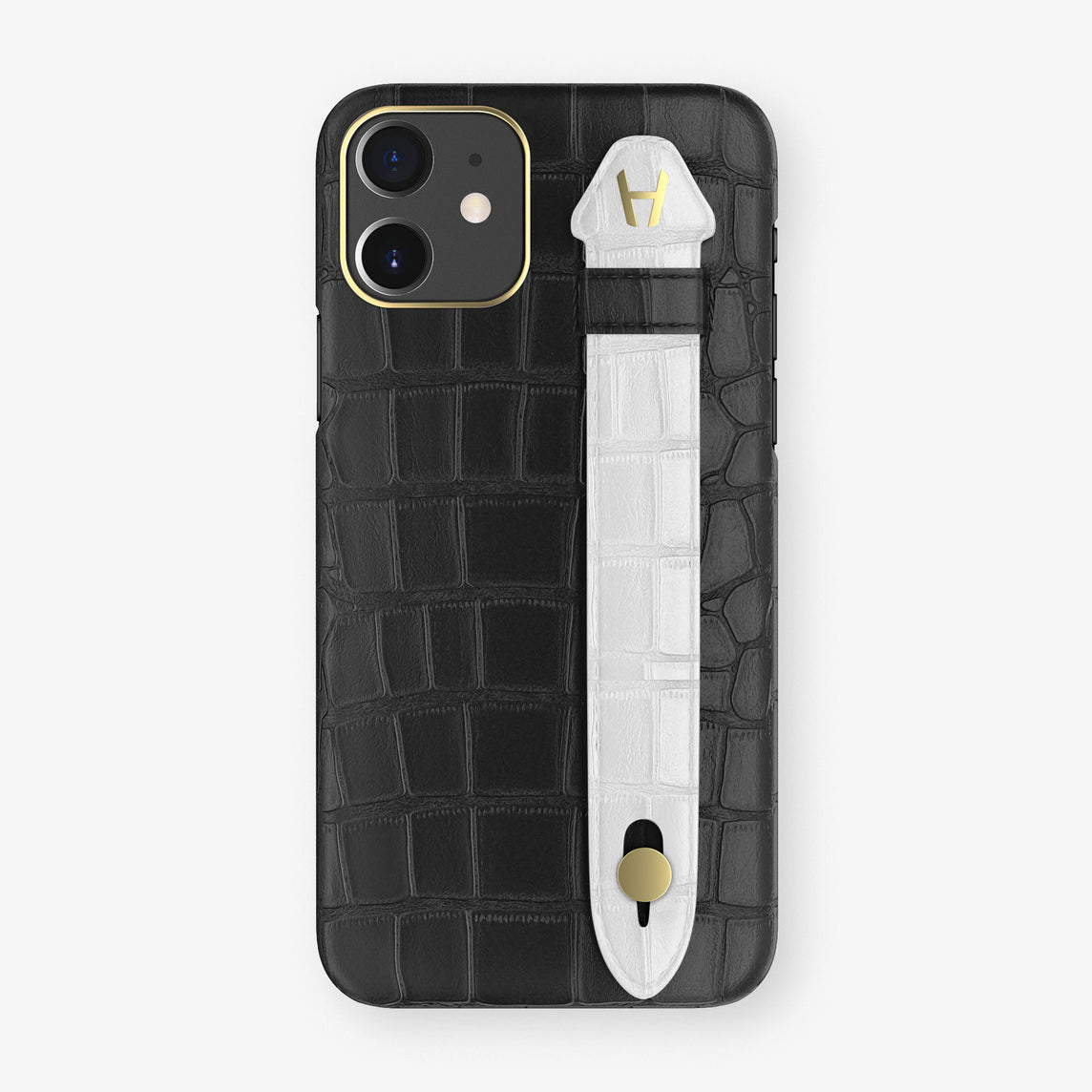 Alligator Side Finger Case Phone 11  | Black/White - Yellow Gold