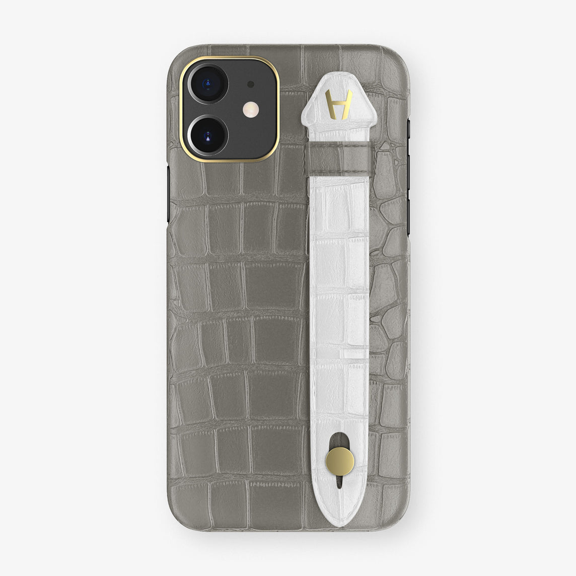 Alligator Side Finger Case Phone 11  | Grey/White - Yellow Gold
