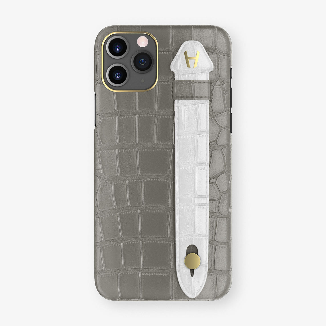 Alligator Side Finger Case Phone 11 Pro  | Grey/White - Yellow Gold