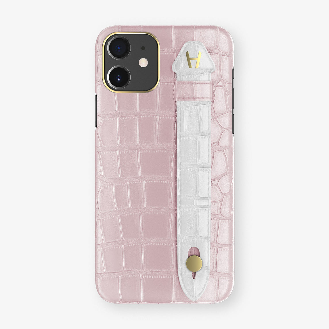 Alligator Side Finger Case Phone 11  | Pink-Poudre/White - Yellow Gold