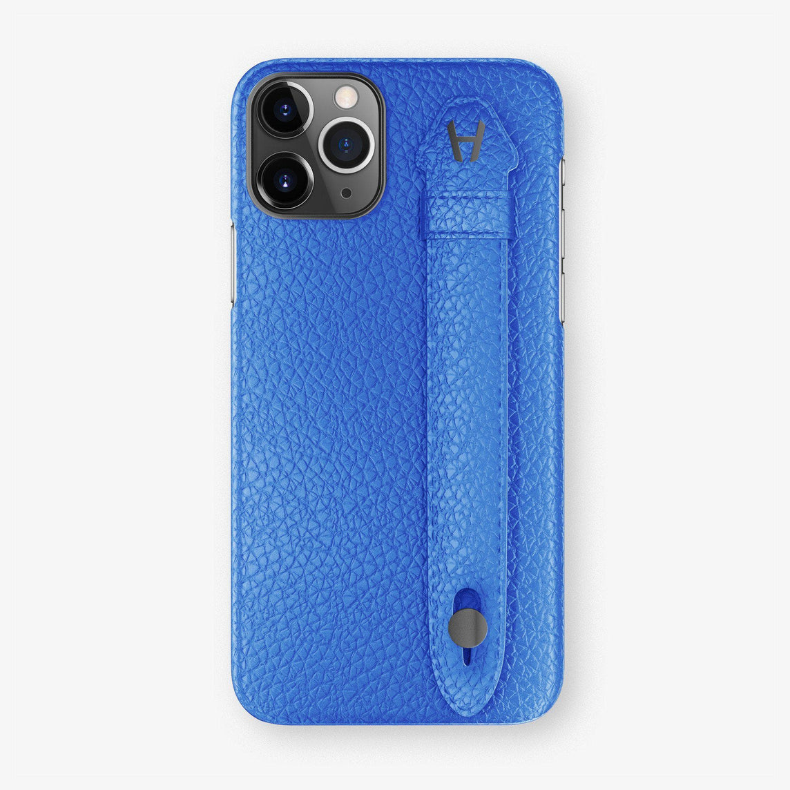 Calfskin Finger Case iPhone 11 | Peony Blue - Black