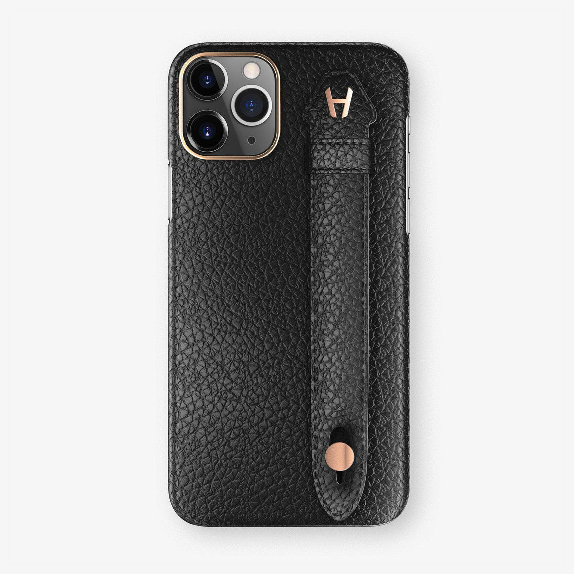 Calfskin Finger Case iPhone 11 | Black - Rose Gold