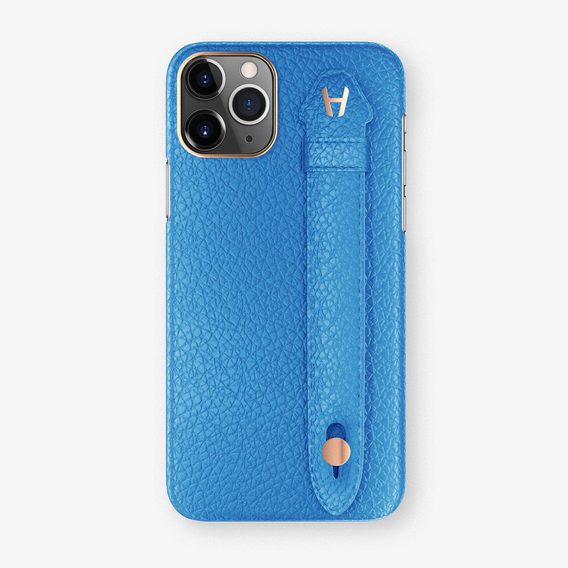 Calfskin Finger Case iPhone 11 Pro Max | Blue Lagoon - Rose Gold