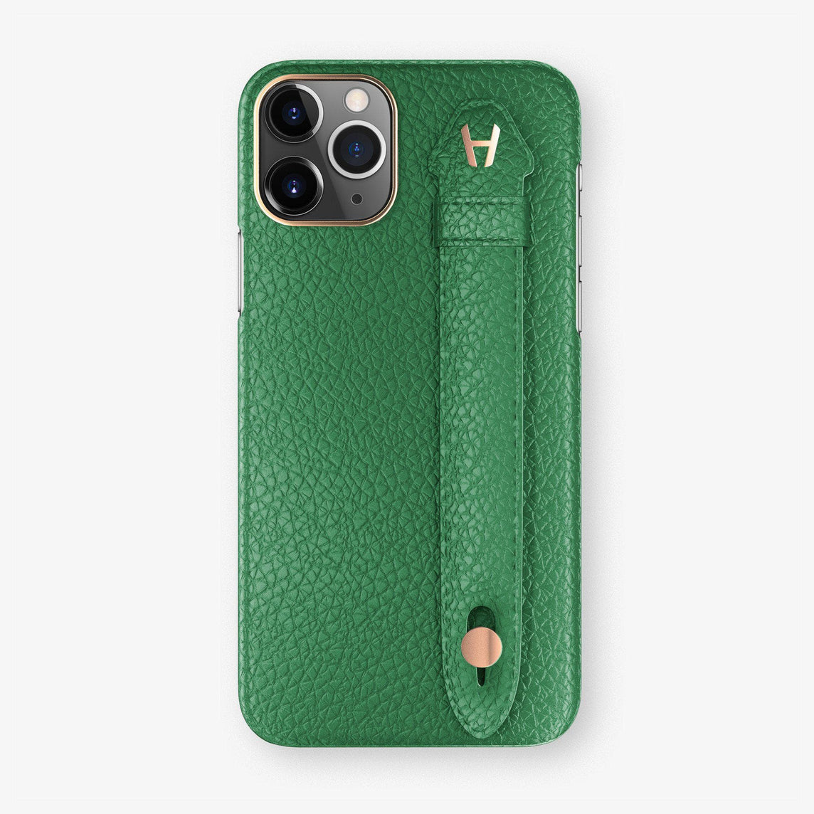 Calfskin Finger Case iPhone 11 Pro Max | Green - Rose Gold