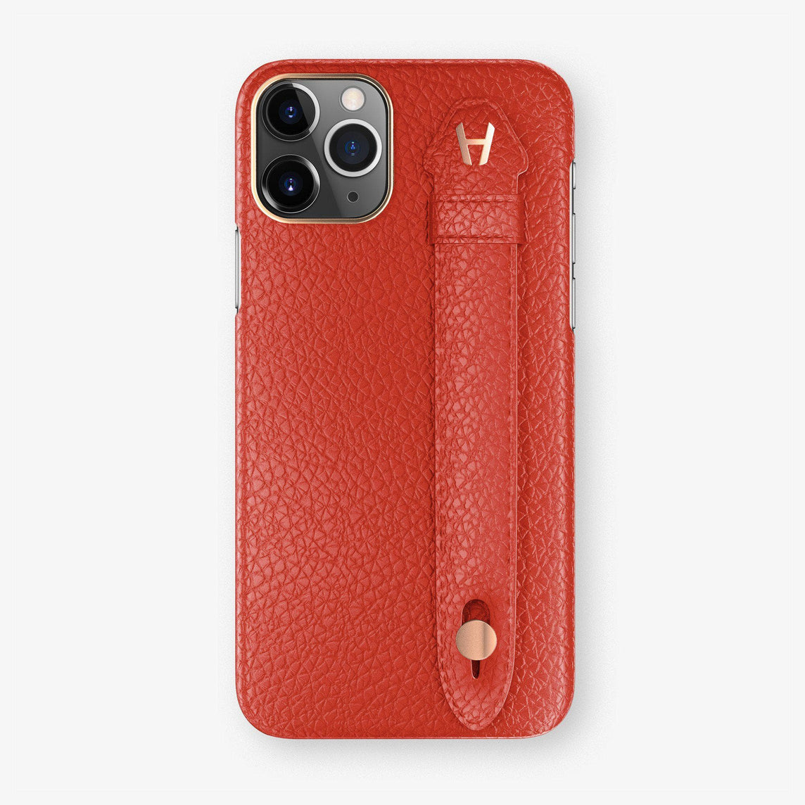 Calfskin Finger Case iPhone 11 | Red - Rose Gold