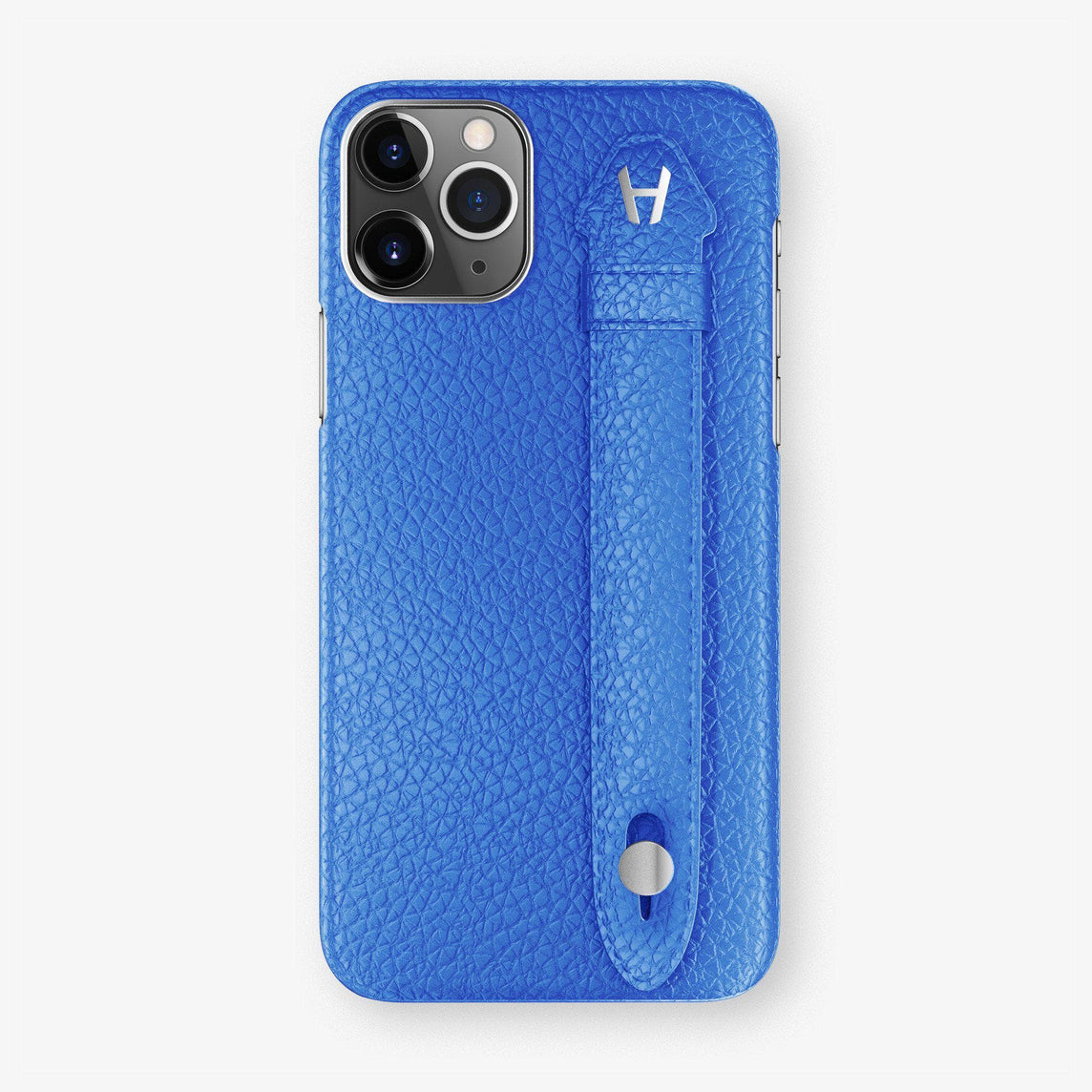 Calfskin Finger Case iPhone 11 | Peony Blue - Stainless Steel