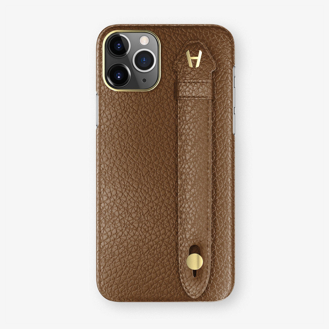 Calfskin Finger Case iPhone 11 Pro Max | Brown - Yellow Gold