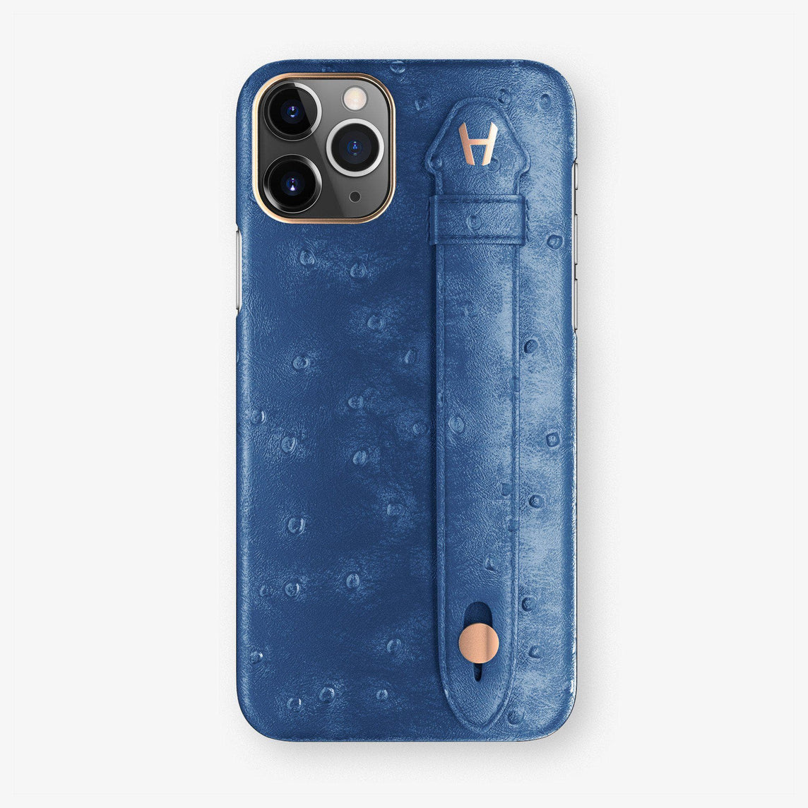 Ostrich Finger Case iPhone 11 | Blue - Rose Gold