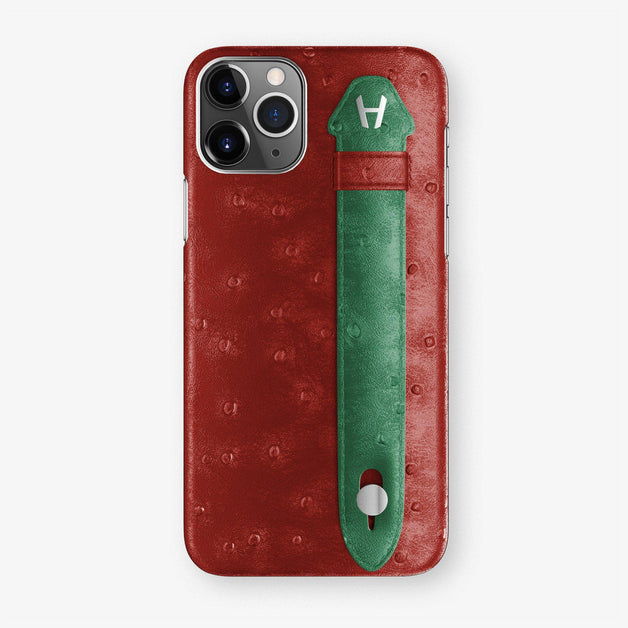 Ostrich Finger Case iPhone 11 Pro | Red/Green - Stainless Steel