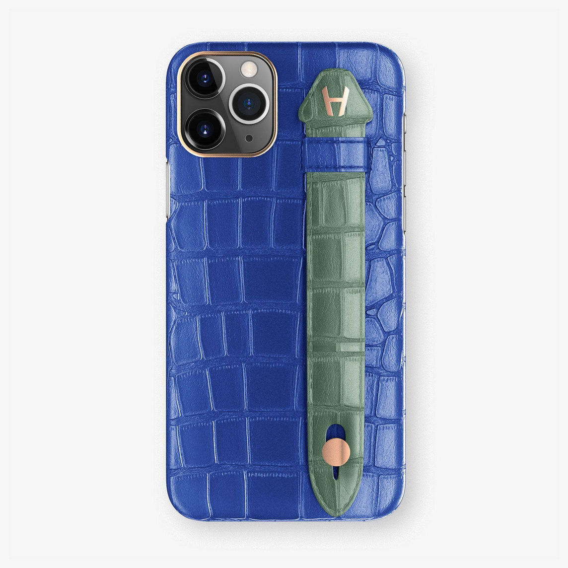 Alligator Finger Case iPhone 11 Pro | Peony Blue/Green Emerald - Rose Gold