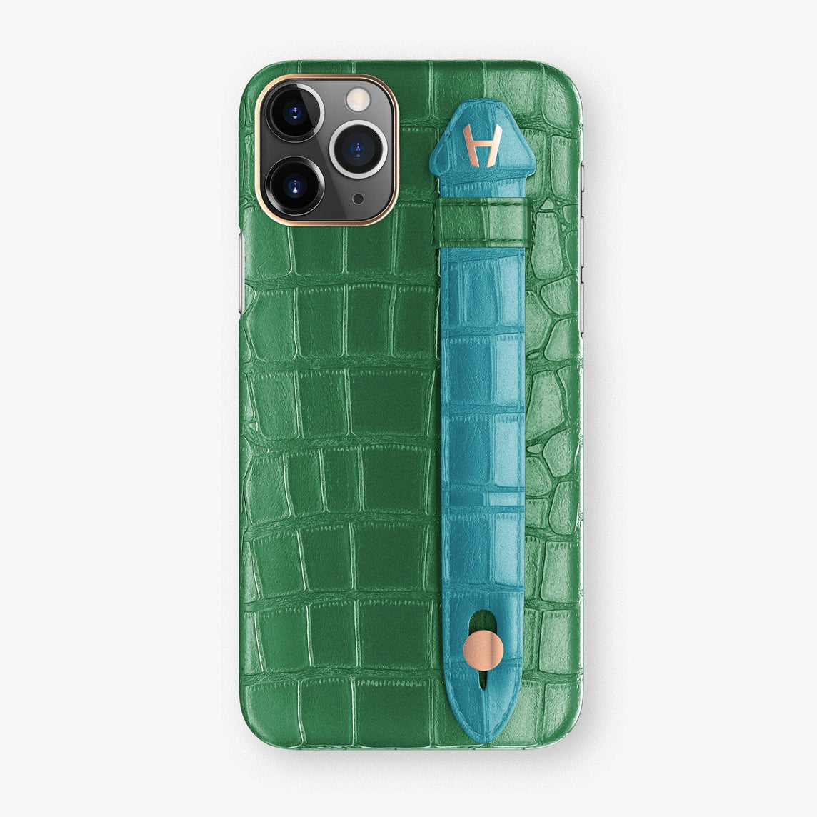 Alligator Finger Case iPhone 11 Pro | Green Emerald/Blue Teal  - Rose Gold