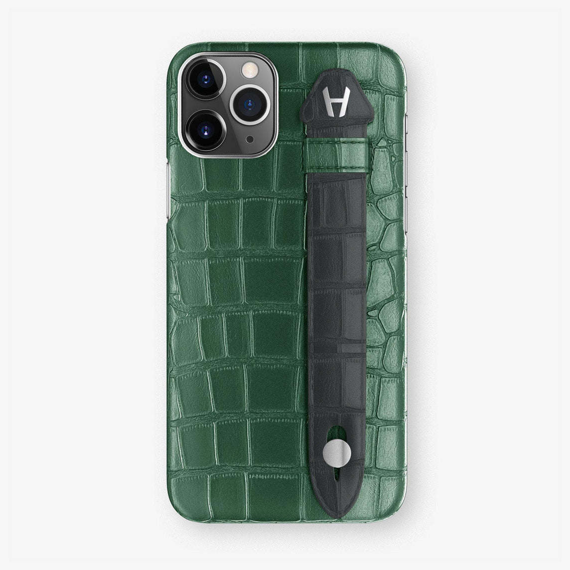 Alligator Finger Case iPhone 11 | Green/Grey Anthracite - Stainless Steel