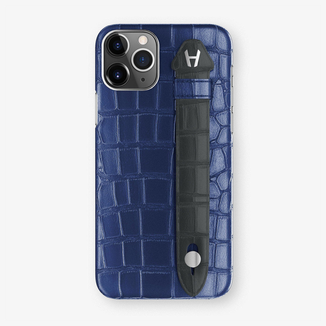 Alligator Finger Case iPhone 11 | Navy Blue/Grey Anthracite - Stainless Steel