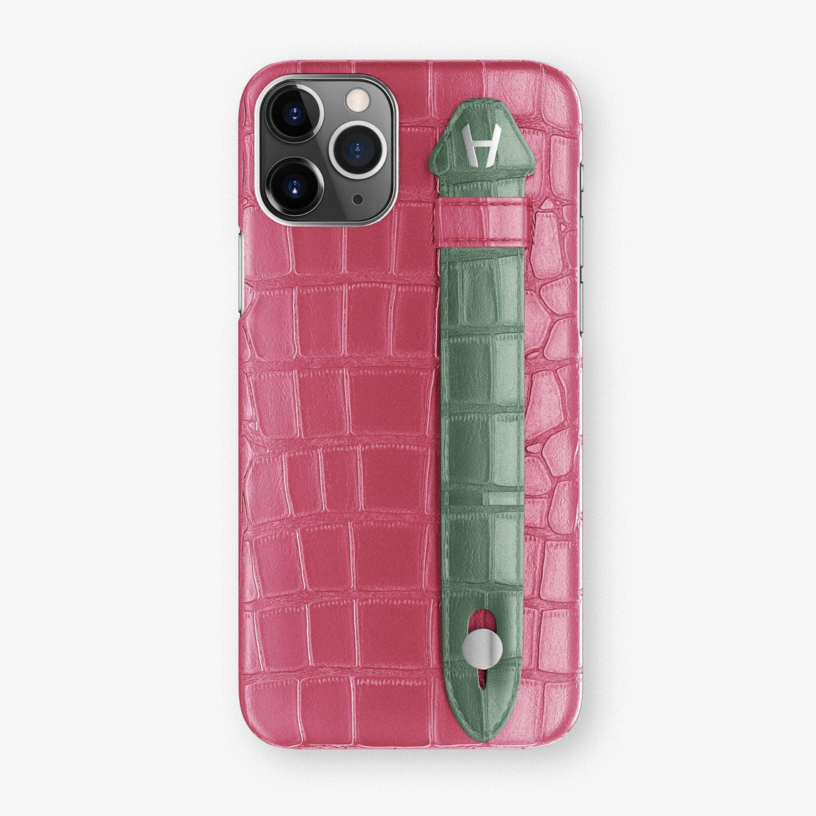 Alligator Finger Case iPhone 11 Pro | Pink Girly/Green Emerald - Stainless Steel