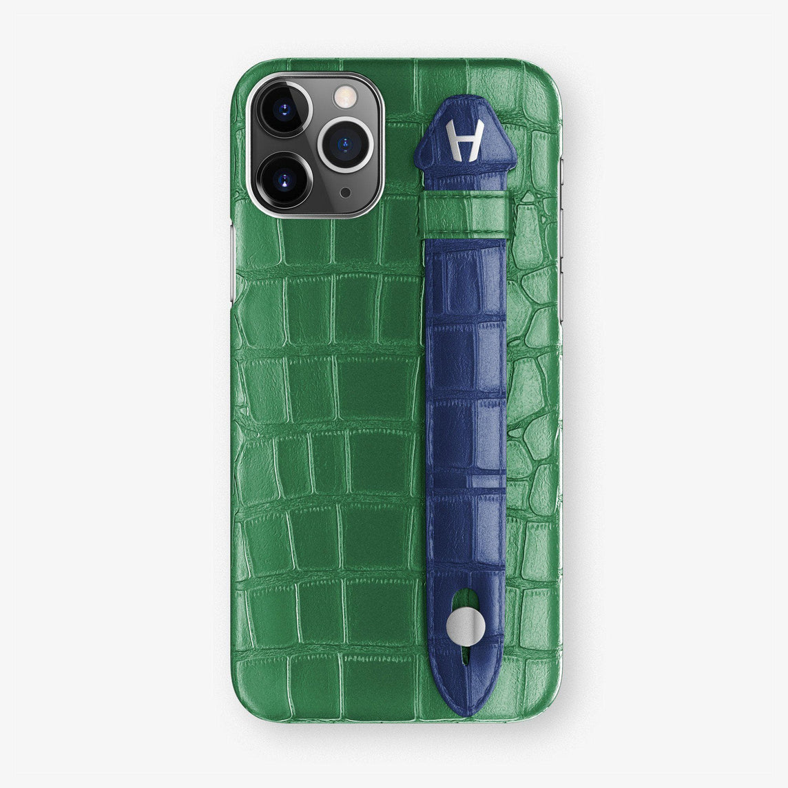 Alligator Finger Case iPhone 11 Pro | Green Emerald/Navy Blue - Stainless Steel