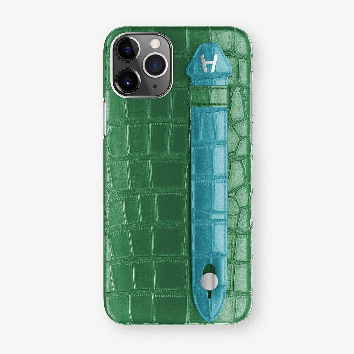 Alligator Finger Case iPhone 11 | Green Emerald/Blue Teal  - Stainless Steel
