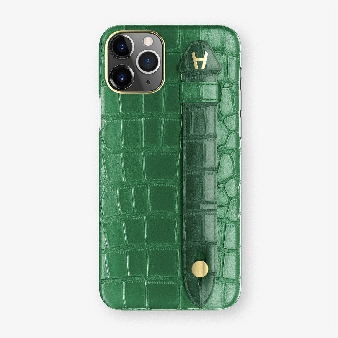 Alligator Finger Case iPhone 11 Pro | Green Emerald/Green - Yellow Gold