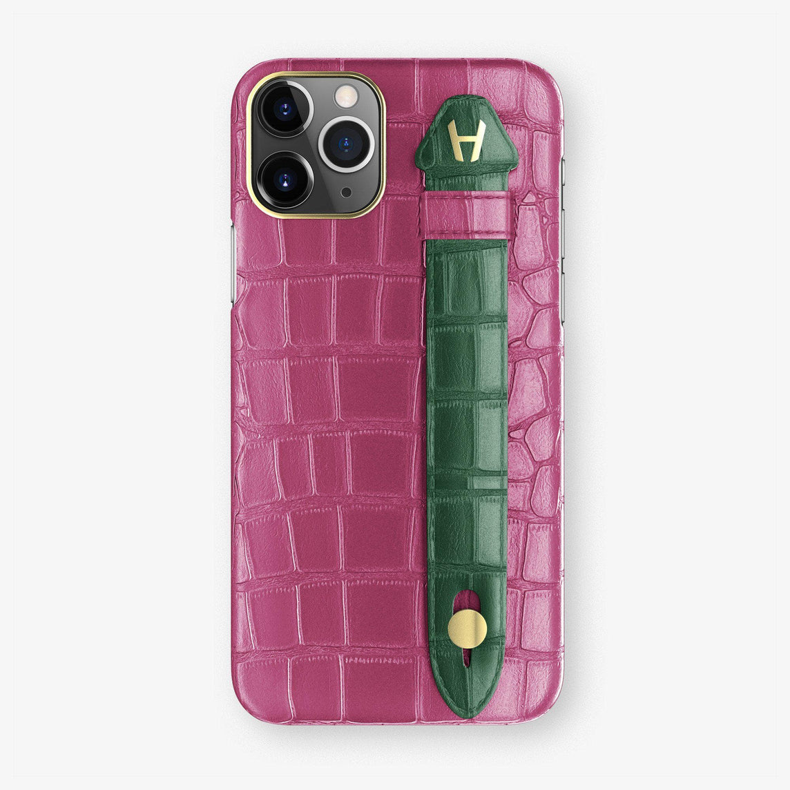 Alligator Finger Case iPhone 11 Pro | Pink Fuchsia/Green - Yellow Gold