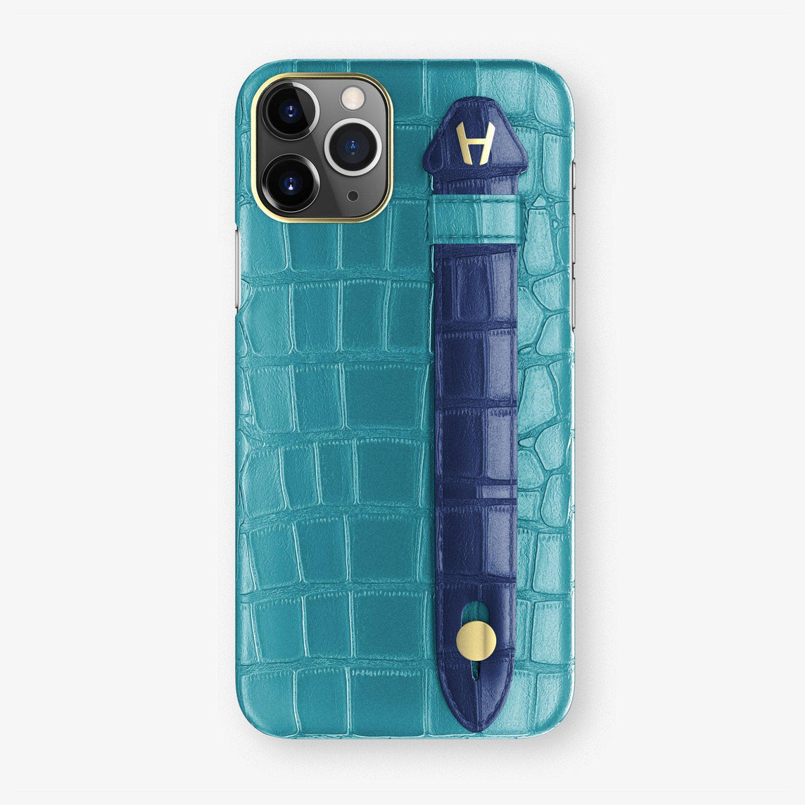 Alligator Finger Case iPhone 11 | Blue Teal/Navy Blue - Yellow Gold
