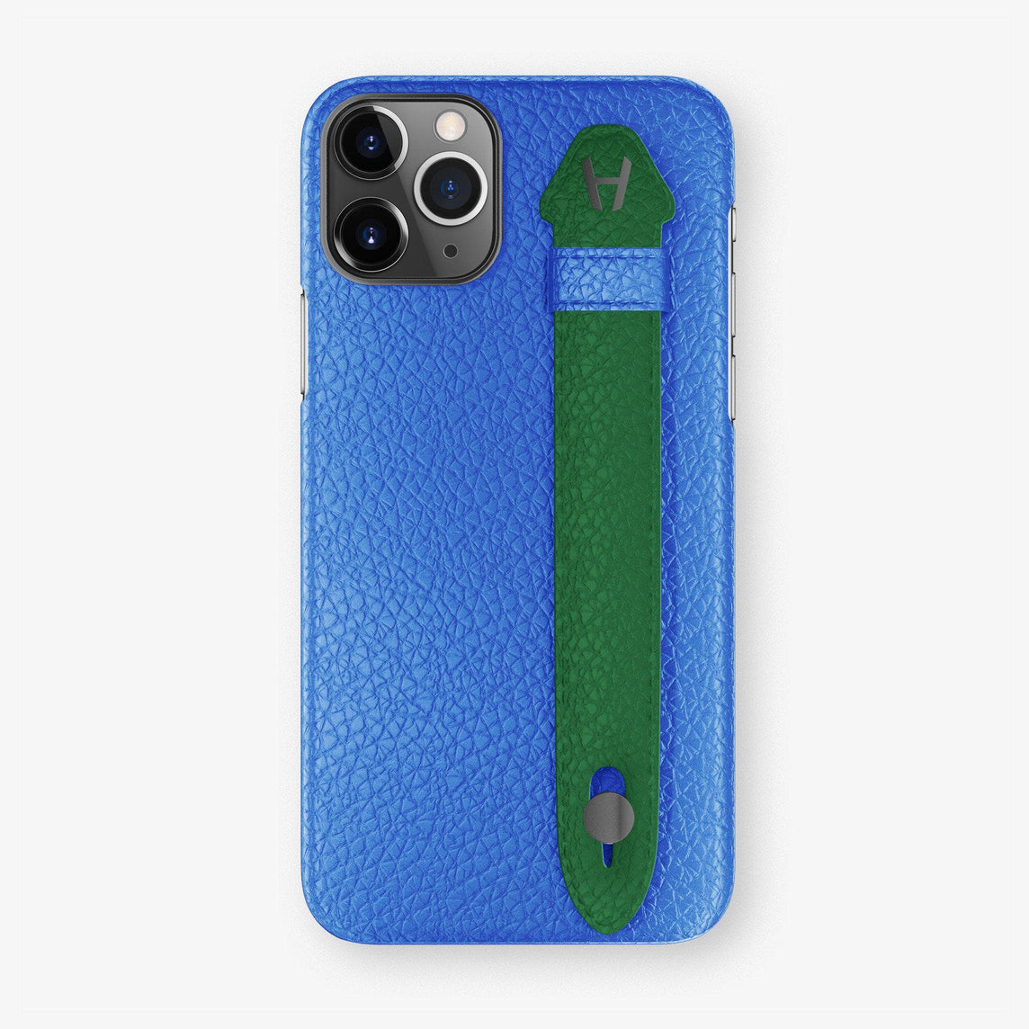 Calfskin Finger Case iPhone 11 Pro Max | Peony Blue/Green - Black