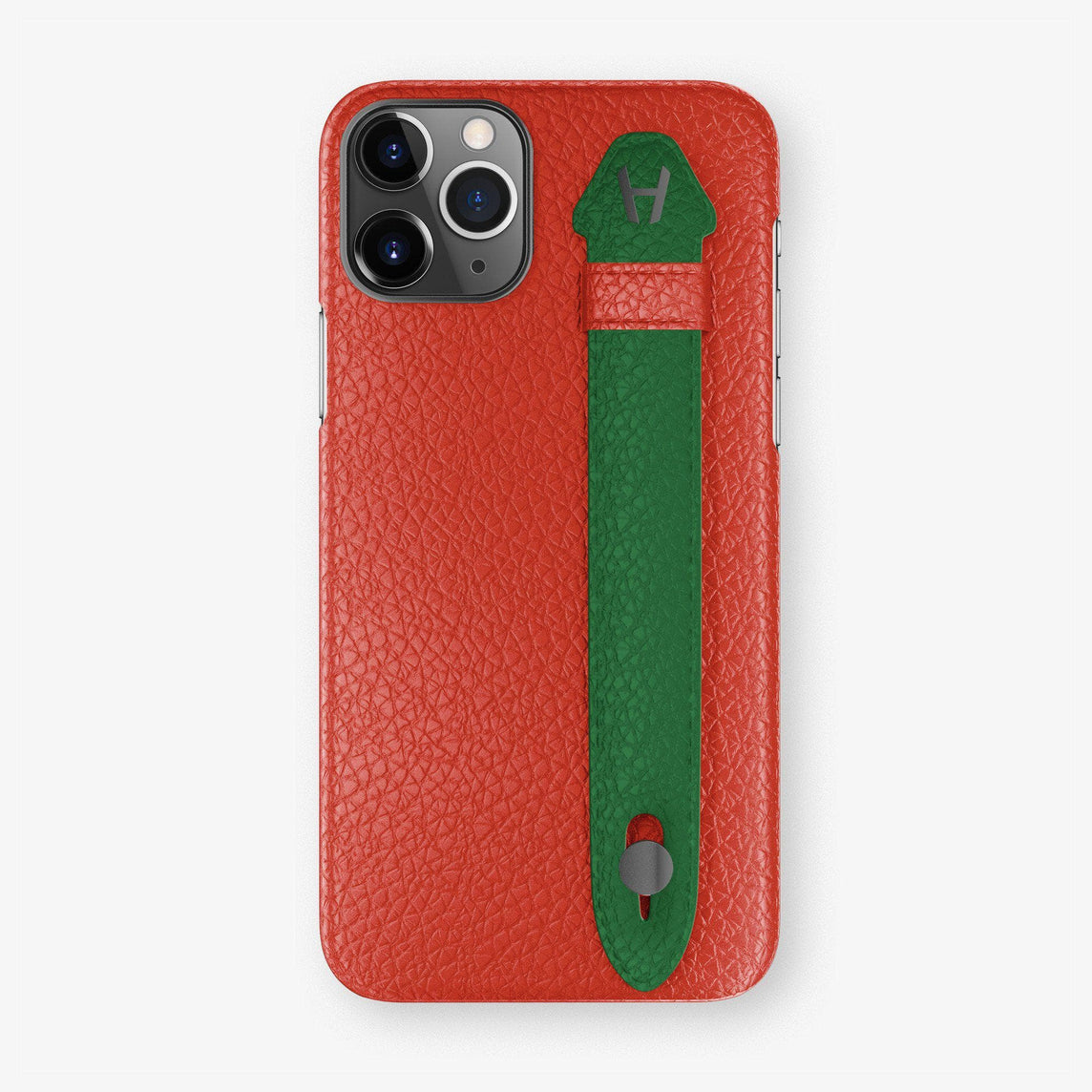 Calfskin Finger Case iPhone 11 Pro Max | Red/Green - Black